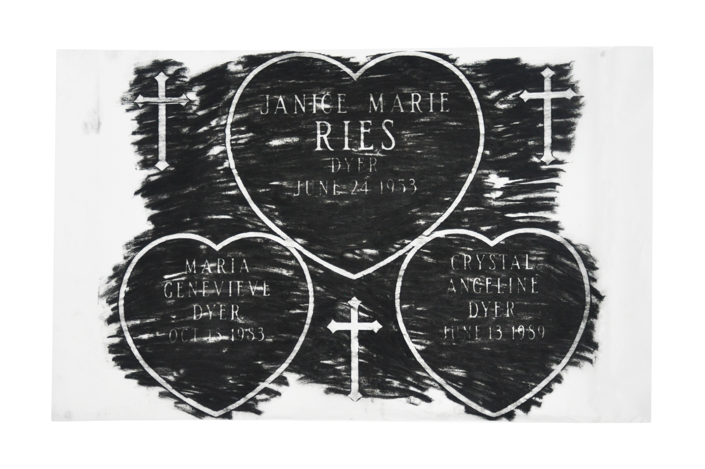 My Tombstone by Crystal Dyer Charcoal Rubbing of Gravestone